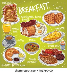 Hand drawn vector illustration of various breakfast food and beverages, pancakes, waffle, orange juice, coffee, croissant, hash browns, bacon, eggs, toasted bread, cereal, English breakfast, omelette.