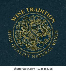 Hand drawn vector illustration of vineyard and grapes. Wine tradition concept. DNA and infinity symbols drawn with grape vine.