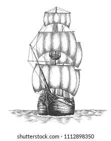 Hand drawn vector illustration of vintage nautical vessel in the sea.