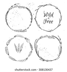 Hand drawn vector illustration.  Vintage decorative collection of laurels and wreaths.  Tribal design elements. Perfect for invitations, greeting cards, quotes, blogs, posters etc.