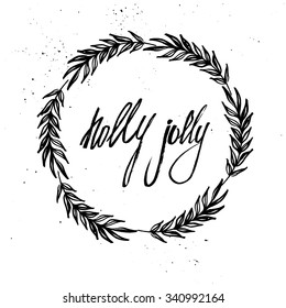 Hand drawn vector illustration. Vintage decorative kit of christmas laurels and wreaths. Perfect for invitations, greeting cards, blogs, posters and more. Merry christmas. Holly jolly