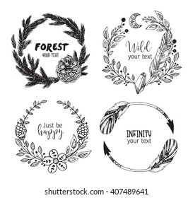 Hand drawn vector illustration. Vintage decorative collection of laurels and wreaths. Tribal design elements. Perfect for invitations, greeting cards, quotes, blogs, posters and more.