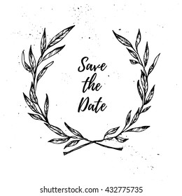 Hand drawn vector illustration. Vintage decorative laurel wreath. Tribal design elements. Perfect for invitations, greeting cards, quotes, blogs, posters and more.