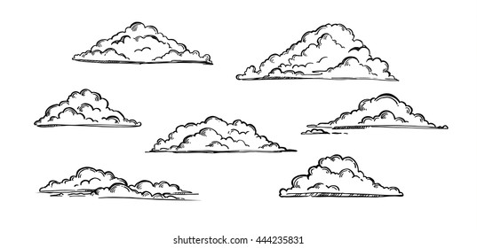 Hand drawn vector illustration - Vintage engraved clouds