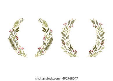 Hand drawn vector illustration. Vintage decorative kit of christmas laurels and wreaths. Perfect for invitations, greeting cards, blogs, posters and more. Merry xmas and happy new year