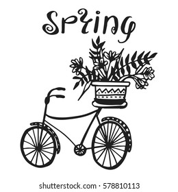 Hand drawn vector illustration with vintage bicycle and flowers, lettering. Beautiful elements for wedding day card, valentine's day and invitation. Spring design for t-shirt and prints.