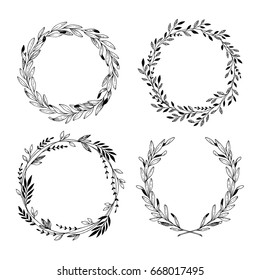 Hand drawn vector illustration. Vintage decorative laurel wreaths. Tribal design elements. Perfect for invitations, greeting cards, blogs, prints and more.