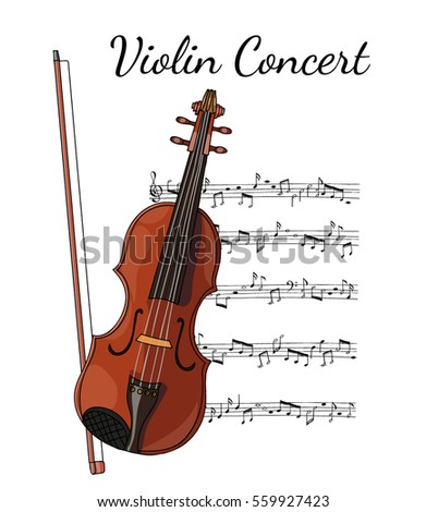Hand Drawn Vector Illustration Violin Bow Stock Vector Royalty Free