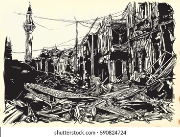 An hand drawn vector illustration - War place. Ruins of an middle east town, city. Drawing on old paper. Islamic, Muslim World.