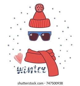 Hand drawn vector illustration of a warm funny knitted hat, sunglasses, muffler, text Winter, heart. Isolated objects on white background with snowflakes. Design concept for winter, cold weather, snow