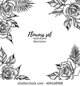 Hand drawn vector illustration -  Wedding frame with roses and tropical branches. Perfect for  invitations, greeting cards, quotes, blogs, posters etc. Vintage collection