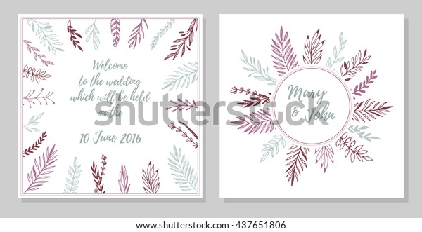 Hand Drawn Vector Illustration Wedding Invitation Stock