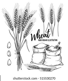 Hand drawn vector illustration - Wheat. Tribal design elements (sacks with flour and stalks of cereals). Perfect for invitations, greeting cards, posters, prints
