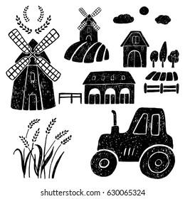 Hand drawn vector illustration windmill, wheat, farm house,tractor.