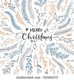 Hand drawn vector illustration - winter frame with floral elements. Christmas card in sketch style. Perfect for invitations, greeting cards, quotes, blogs, Wedding Frames, posters