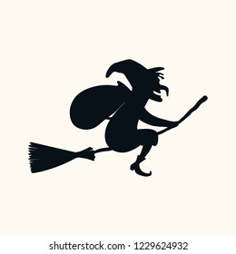 Hand drawn vector illustration of a witch with sack flying on broomstick. Isolated objects on white background. Silhouette drawing. Italian Christmas. Design concept, element for Epiphany card, banner
