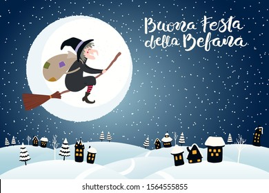 Hand drawn vector illustration with witch Befana flying on broomstick over country landscape, Italian text Buona Festa della Befana, Happy Epiphany. Flat style design. Concept for holiday card, banner