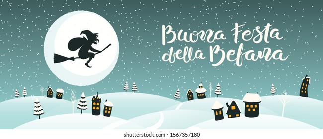 Hand drawn vector illustration with witch Befana flying on broomstick over country landscape, Italian text Buona Festa della Befana, Happy Epiphany. Flat style design. Concept for card, poster, banner