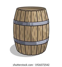 Hand drawn vector illustration of wooden barrel