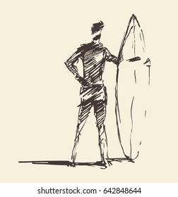 Hand drawn vector  illustration of young man standing on the beach with a surfboard, sketch