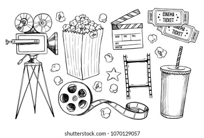 Hand drawn vector illustrations - Cinema collection. Movie and film elements in sketch style. Perfect for posters, banners, flyers, advertising, billboards,