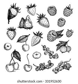 Hand drawn vector illustrations - Collection of berries (raspberries, strawberries, cherries, gooseberries).