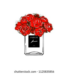 Hand drawn vector illustrations - french perfume. Outline design elements. Fashion sketch. Glass bottles floral with red flowers. Perfect for invitation, greeting card, poster, print etc.