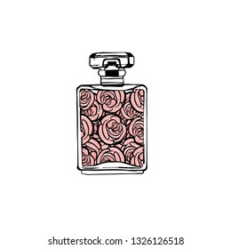 Hand drawn vector illustrations - french perfume. Outline design elements. Fashion sketch. Glass bottles with floral aroma. Perfect for invitation, greeting card, poster, print etc.