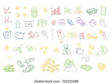Hand drawn vector illustrations money coins bills. Doodle design elements. Finance payments banks cash Stock color vector