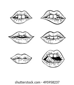 Hand drawn vector illustrations - Mouth with teeth. Female lips set isolated on white background. Perfect for invitations, greeting cards, quotes, blogs, posters.