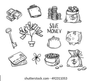 Hand drawn vector illustrations - Save money. Doodle design elements. Finance, payments, banks, cash, Four-leaf clover