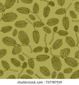 Hand drawn vector illustrations. Seamless pattern with pine cones. Forest background