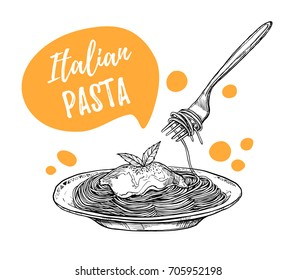 Hand drawn vector illustrations. Template - Pasta. Italian food. Design elements in sketch style. Perfect for menu, delivery, blogs, restaurant banners, prints etc