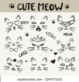 Hand drawn vector illustrations of ute meow