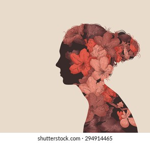 Hand drawn vector image in a double exposure style
