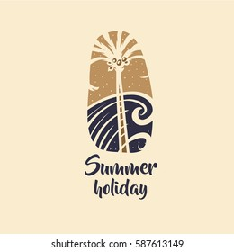 Hand drawn vector image with palm tree and sea. Concept design for print on t-shirt. Logo for travel agency.