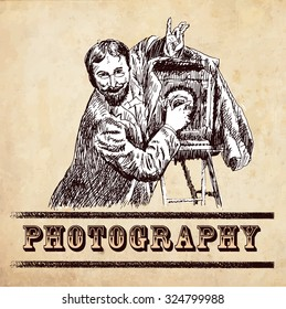 Hand drawn vector image of photographer making a photo. In the style of vintage illustration