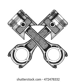 Hand drawn vector image of pistons