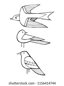 Hand drawn vector ink illustration or drawing of some birds