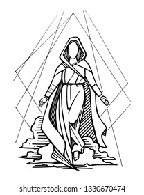 Hand drawn vector ink illustration or drawing of Virgin Mary and sky