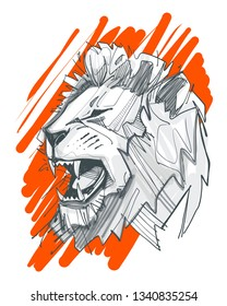 Hand drawn vector ink illustration or drawing of a lion head