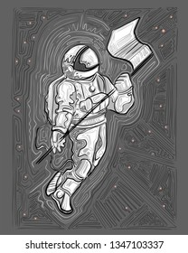 Hand drawn vector ink illustration or drawing of an astronaut