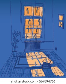 Hand drawn vector interior colorful art sketch design. Room with big window illustration isolated on dark blue background. Orange light shining through window into a room.