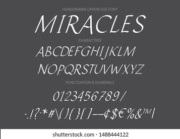 Hand drawn vector italics uppercase alphabet font with letters, numbers, symbols. For calligraphy, lettering, hand made quotes.