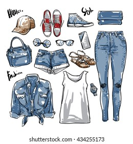 Hand drawn vector Lady fashion accessories, fashion denim, isolated elements, hipster style