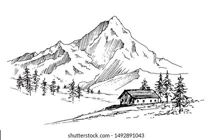 Hand drawn vector landscape with mountains, trees and village house in the mountains. Perfect for banner, poster and sticker design.