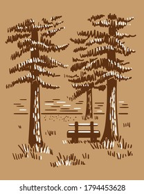 Hand drawn vector landscape with pines, lake and wooden bench. Sketch in craft style .