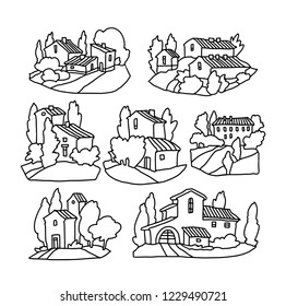 Hand drawn vector landscape of trees and houses. Villiage landscape. Rural view.