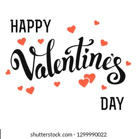 Hand drawn vector lettering card with pink hearts. Typography poster with handwritten calligraphy. Happy Valentine's Day.