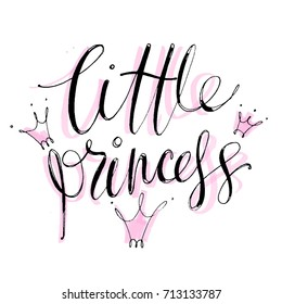 Hand drawn vector lettering. Little Princess. Isolated vector illustration. Handwritten modern calligraphy. Inscription for postcards, posters, prints, kids clothes, greeting cards.